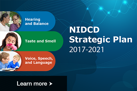 NIDCD Strategic Plan 2017-2021 cover showing 7 research areas: hearing, balance, taste, smell, voice, speech, and language